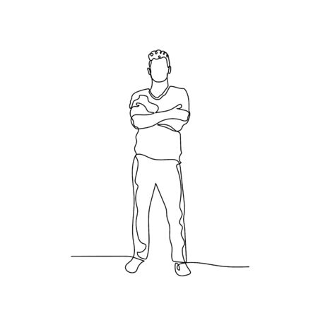 Continuous one line man keeping arms crossed. Stock vector illustration.