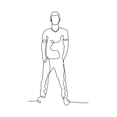 Continuous one line man stand, hands in pockets. Man in pose. Stock vector illustration.