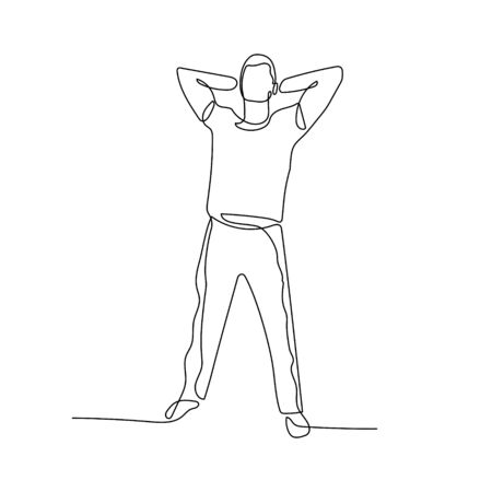 Continuous one line man stand with his hands behind his head. Stock vector illustration.