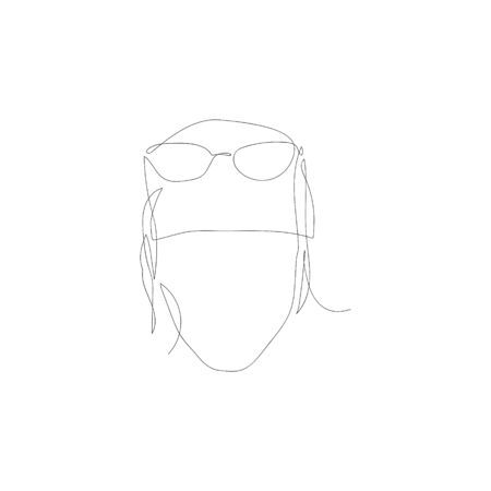 Continuous one line abstract woman with glasses. Vector illustration.