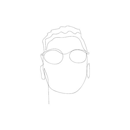 Continuous one line abstract man with glasses. Vector illustration. Illusztráció