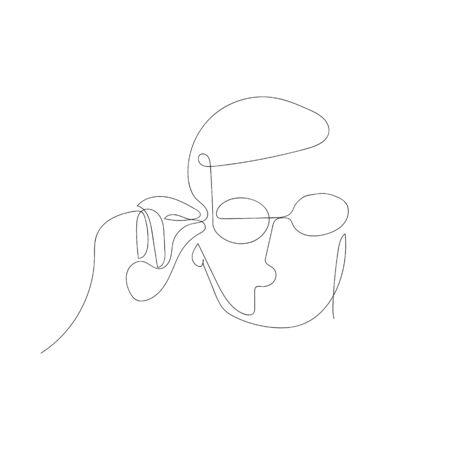 Continuous one line abstract man puts on glasses . Vector illustration. Illusztráció