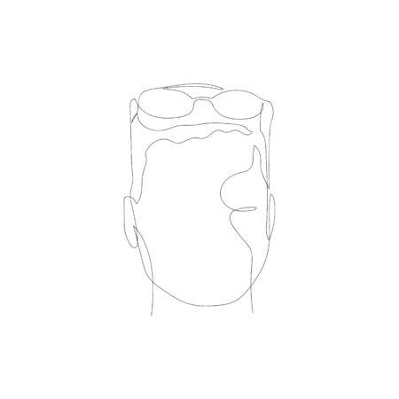 Continuous one line man with glasses. Vector stock illustration. Illusztráció