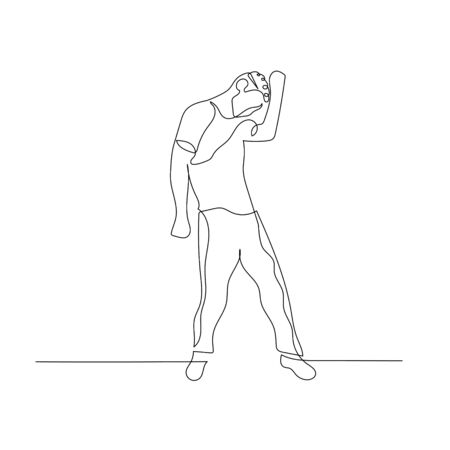 Continuous one line dancing man with curly hair. Vector stock illustration.