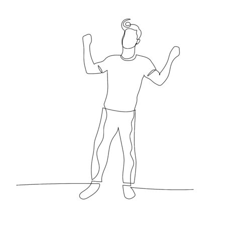 Continuous one line dancing man with retro haircut. Vector stock illustration.