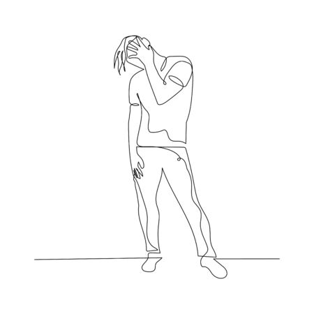 Continuous one line dancing man with hand on face. Vector stock illustration.