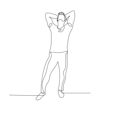 Continuous one line dancing man look up and hands behind head. Vector stock illustration.