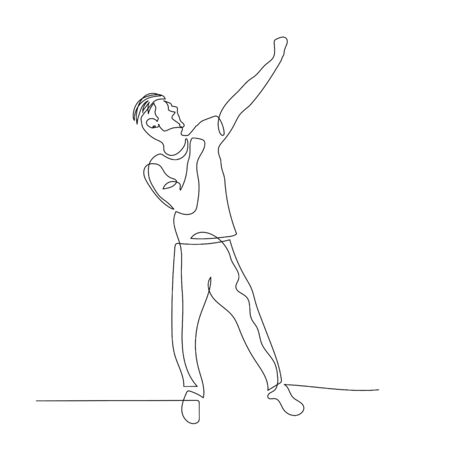 Continuous one line dancing man with rised up hand. Vector .
