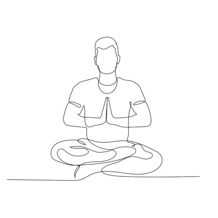 Continuous one line man sitting in lotus position. Yoga. Vector stock illustration.