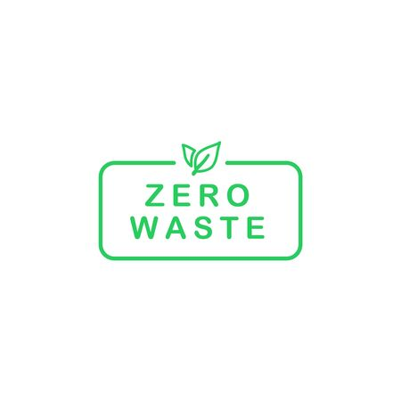 Zero waste text in rectangle with green line leaves. Eco label, green emblem. Vector illustration.