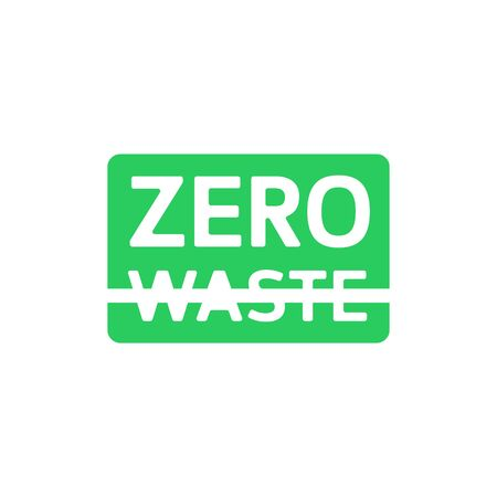 Zero waste green rectangle emblem with crossed out waste . Eco label, green emblem. Vector illustration.