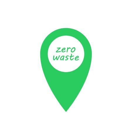 Zero waste pin marker green icon with text. Green emblem, eco label. Vector illustration.