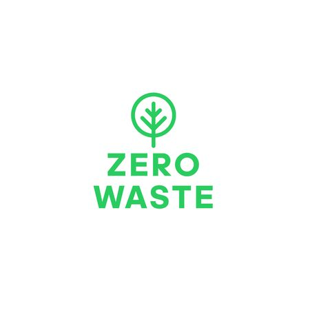 Zero waste green tree minimalistic logo. Eco label, green emblem. Vector illustration.