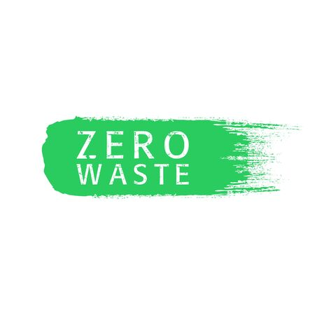 Zero waste text title with worn effect on green brush stroke. Waste management concept isolated illustration on white background. Vector illustration.
