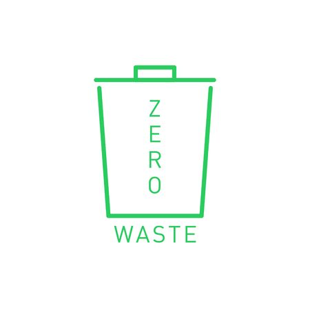 Zero waste icon empty urn. Eco label, green emblem. Vector illustration.