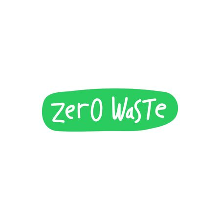 Zero waste handwritten text on green spot backdrop isolated on white background. Eco label, green emblem. Vector illustration.