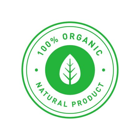 Organic 100 percent natural product green circle sticker with symmetrical leaf. Design element for packaging design and promotional material. Vector illustration.
