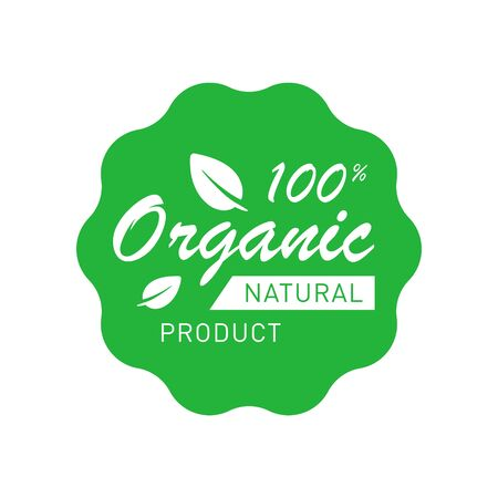Organic 100 percent natural product badge with leaves. Design element for packaging design and promotional material. Vector illustration. Ilustração