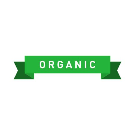Organic green ribbon badge. Design element for packaging design and promotional material. Vector illustration.