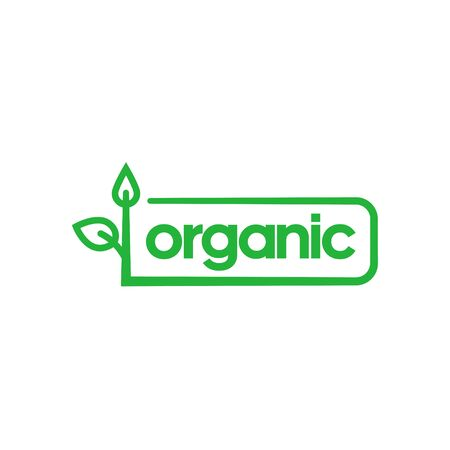 Organic green rounded rectangle sticker with sprout. Design element for packaging design and promotional material. Vector illustration.