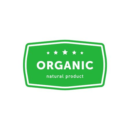 Organic natural product green rectangle emblem. Design element for packaging design and promotional material. Vector illustration. Ilustração
