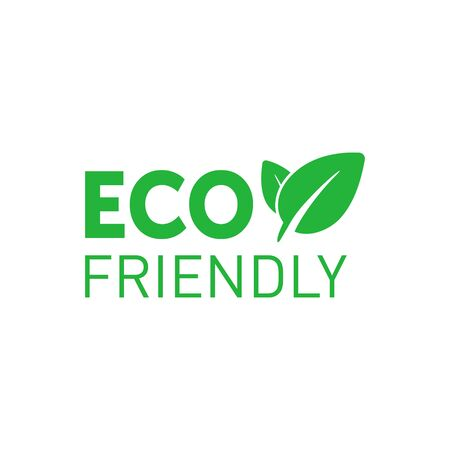 Eco friendly green badge with tree leaf. Design element for packaging design and promotional material. Vector stock illustration.