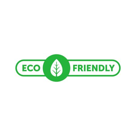 Eco friendly green sticker with tree leaf. Design element for packaging design and promotional material. Vector stock illustration.