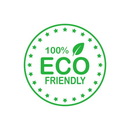 Eco friendly 100 percent green circle badge with leaf. Design element for packaging design and promotional material. Vector stock illustration.