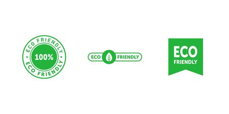 Set of various eco friendly 100 percent green badges with tree leaf and bookmark. Design element for packaging design and promotional material. Vector stock illustration. 向量圖像