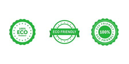 Set of circle eco friendly 100 percent green badges with ribbon. Design element for packaging design and promotional material. Vector stock illustration.