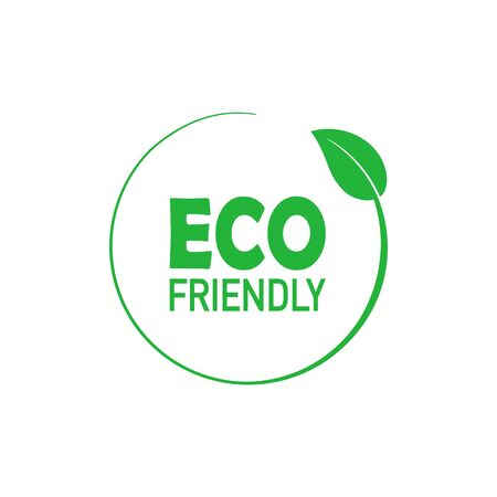 Eco friendly green circle badge with tree leaf. Design element for packaging design and promotional material. Vector stock illustration.