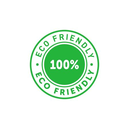 Eco friendly 100 percent green circle sticker. Design element for packaging design and promotional material. Vector stock illustration.