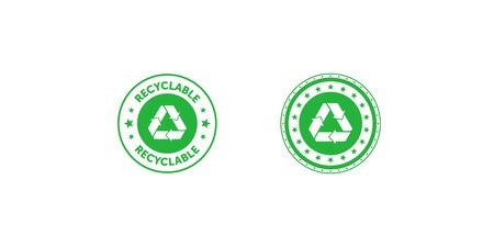 Set of recyclable green circle badge with Mobius strip and stars. Design element for packaging design and promotional material. Vector illustration.