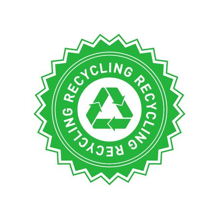 Recycling green star badge with Mobius strip. Design element for packaging design and promotional material. Vector illustration.