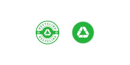 Set of recycling green circle and star badge with Mobius strip, band or loop, stars. Design element for packaging design and promotional material. Vector illustration.
