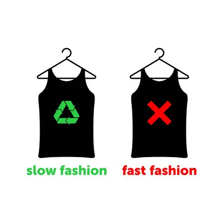 Slow fashion is the right choice to save earth. Two t-shirts on hangers with red cross and green recycle sign. Vector illustration. Vetores