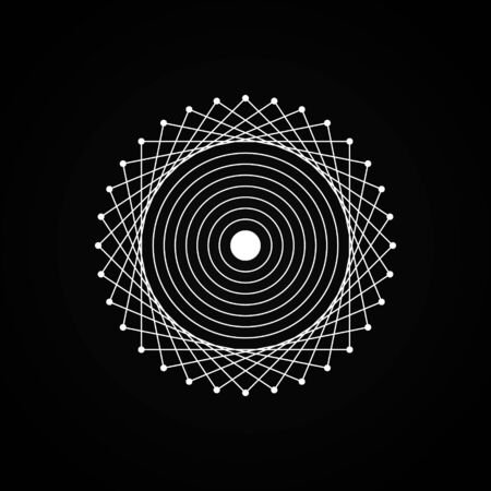 Esoteric white geometry sign on black background. Visual illusion. Simple design for magic, astrology craft. Vector illustration.
