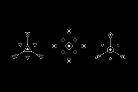 UFO or spiritual geometry white symbol set. Circle, square, rhombus figures. Design symbols for puzzle, logic, metroidvania games. Vector illustration. Vecteurs