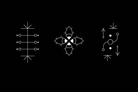 Occult geometry symbol set. Ancient secret inscriptions, rune or glyph. Eye sign. Cave drawings. UFO signs. Design symbols for puzzle, logic, metroidvania and indie games. Vector illustration.