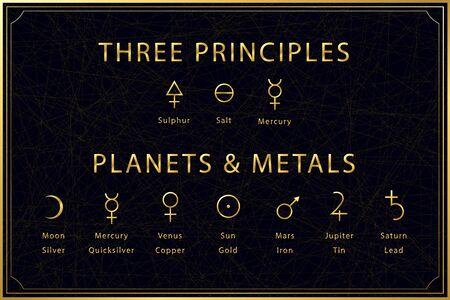 Alchemical golden symbols set on dark background. Three principles of alchemy - sulphur, salt, mercury. Planets and metals designation. Sacred geometry. Vector illustration.