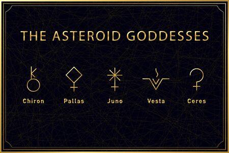 Set of alchemical golden symbols of the asteroid goddesses on dark background. Sacred geometry. Vector stock illustration. Ilustración de vector