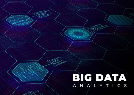 Big data analytics perspective background. Design template for information concept with hud elements. Colorful big data backdrop. Vector illustration. Eps 10.