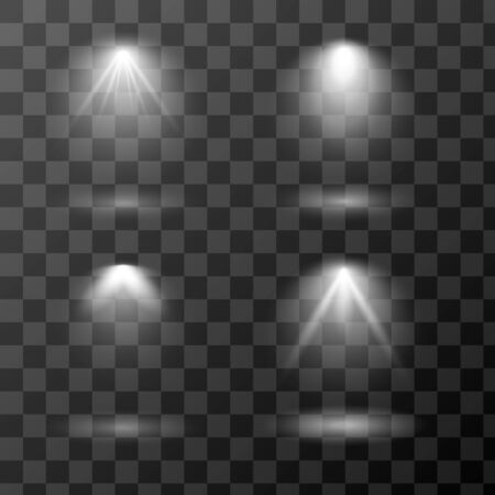 Vector set of light sources isolated on transparent background. Scene spotlight collection. Design of light effects for your project. Eps 10. Vectores