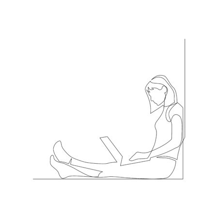 Continuous one line woman with laptop sitting on the floor leaning against a wall. Vector stock illustration. Vector Illustratie