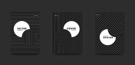 Minimalist black and white cover set. Circles and straight line pattern. Vector design template for poster, flyer, card, brochure.