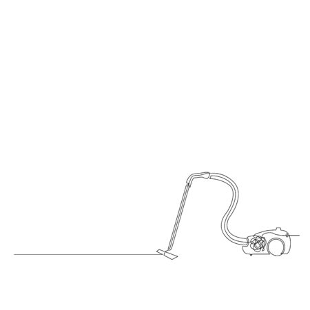 Continuous one line vacuum cleaner. Vector stock illustration.