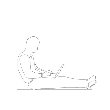 Continuous one line man with laptop sitting on the floor leaning against a wall. Vector stock illustration. 写真素材