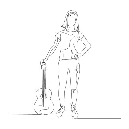 Continuous one line standing woman with a guitar. Vector stock illustration.