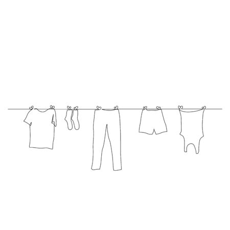 Continuous one line clothes dry on a rope. Vector stock illustration.