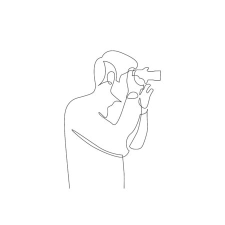 Continuous one line man takes pictures on camera. Side view. Vector stock illustration.